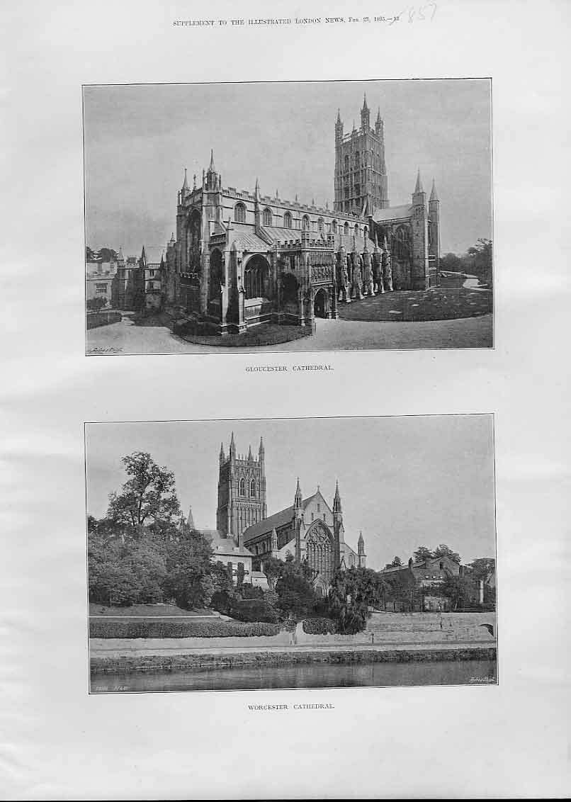 Print Gloucester & Worcester Cathedrals 1895 57Aaa0 Old Original