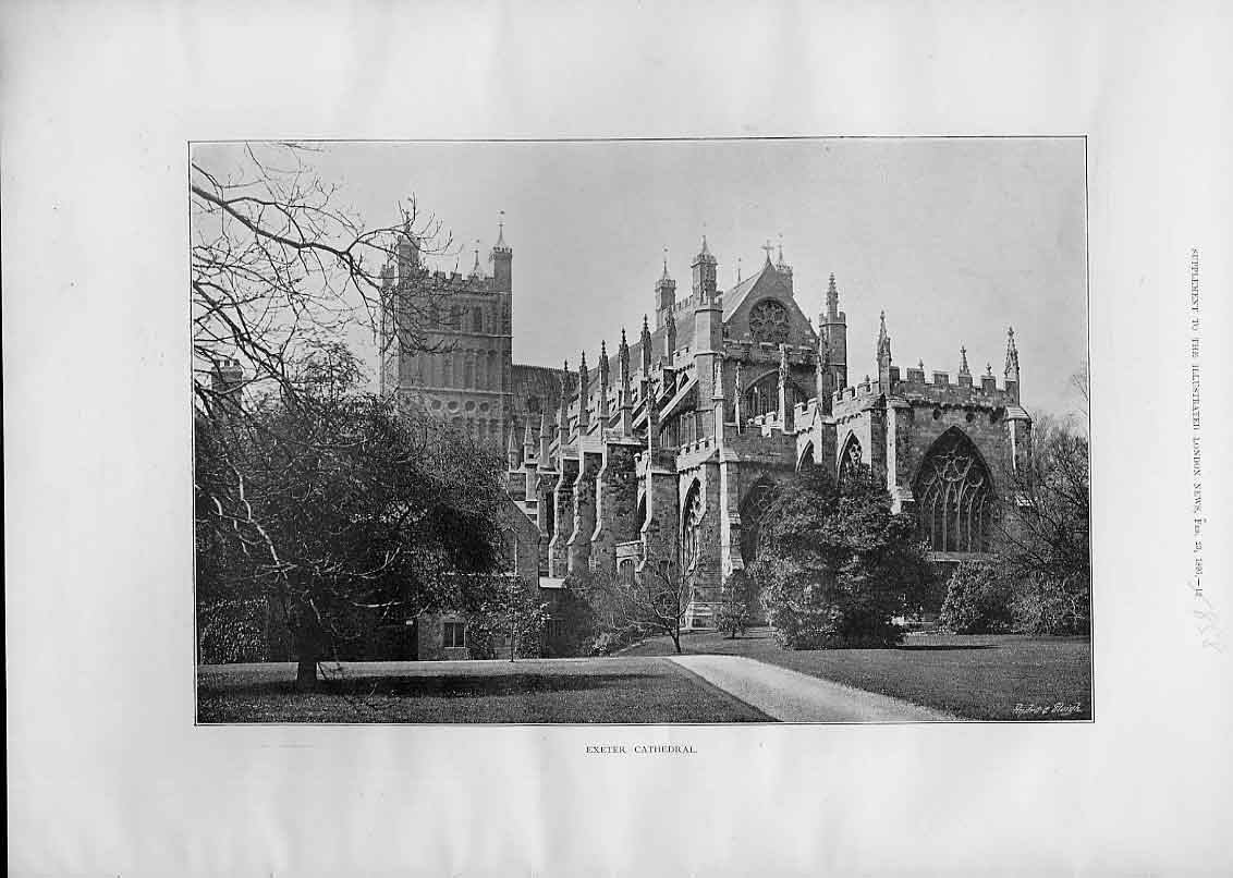 Print Exeter Cathedral 1895 58Aaa0 Old Original
