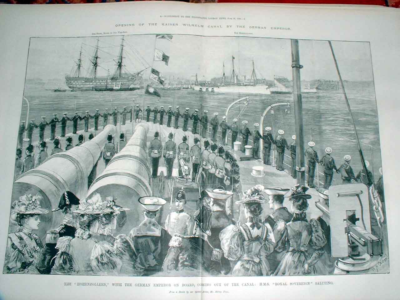 Print The Hohenzollern With German Emperor On Board 1895 Ship 53Taaa0 Old Original