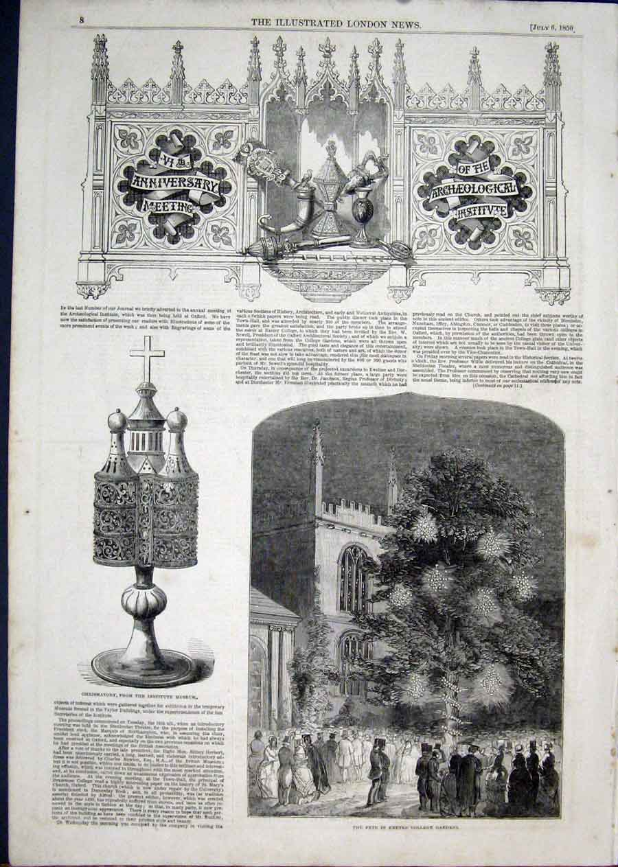 Print Oxford Archeological Exeter College 1850 08Aaa1 Old Original