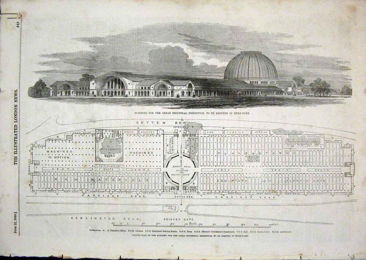 Print Building Hyde Park Paxton Cycas Ravensworth 1850 13Aaaa1 Old Original