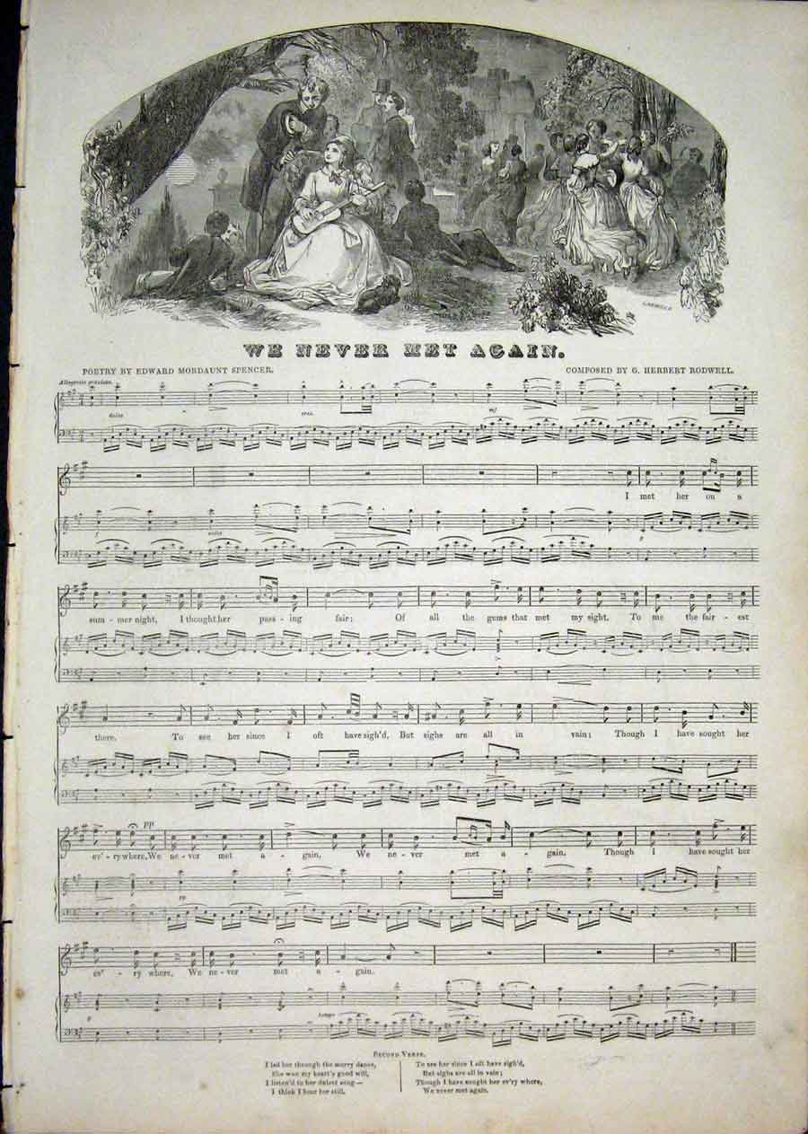Print Music Sheet Score Rodwell Spencer Met Again 1850 32Aaa1 Old Original