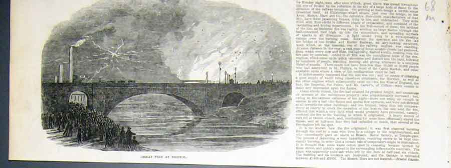 Print Great Fire Bristol 1850 68Maaa1 Old Original