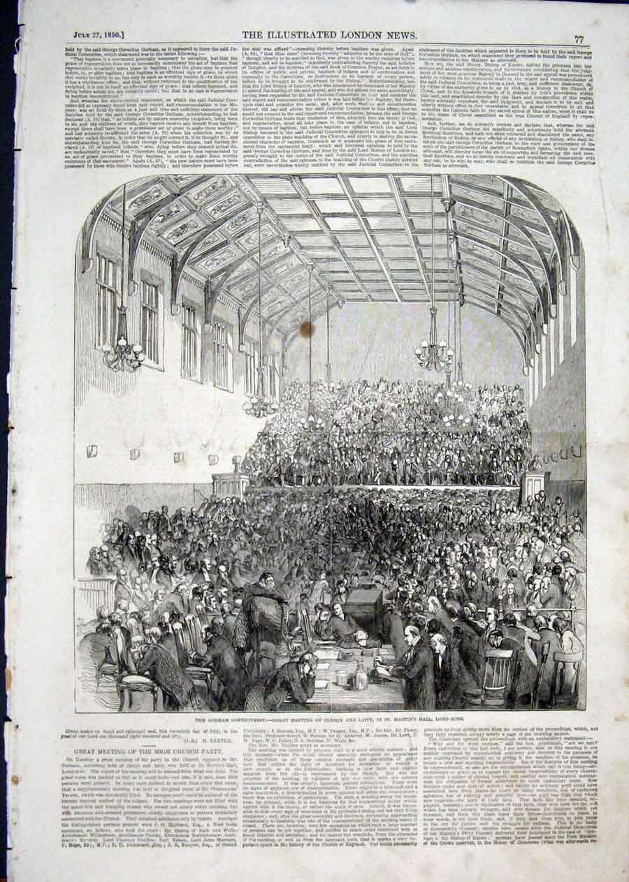 Print Gorham Controversy St Martins Long-Acre 1850 77Aaa1 Old Original