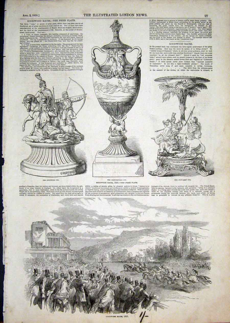 Print Races Horse Chesterfield Cup Goodwood 1850 97Aaa1 Old Original