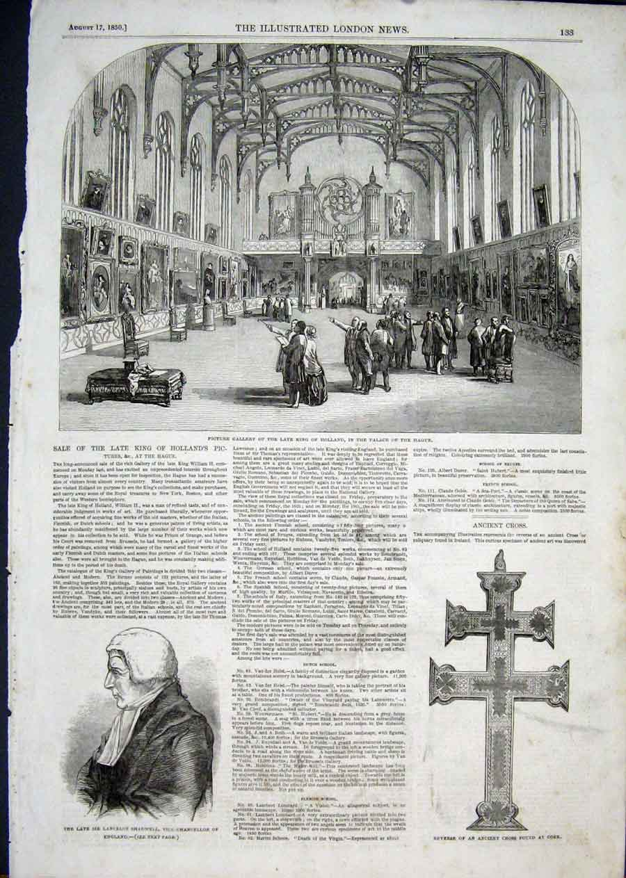 Print Hague Palace King Holland Portrait Shadwell Cross 1850 33Aaa1 Old Original