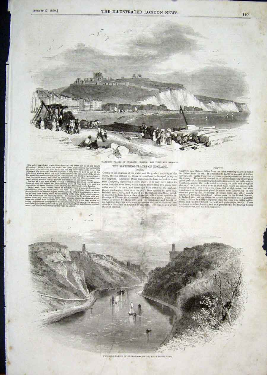Print Dover Watering Places Clifton 1850 49Aaa1 Old Original