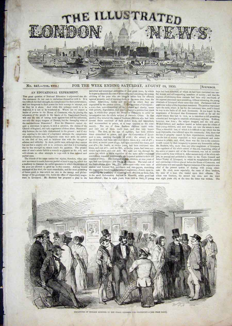 Print Frankfort Peace Congress 1850 66Aaa1 Old Original