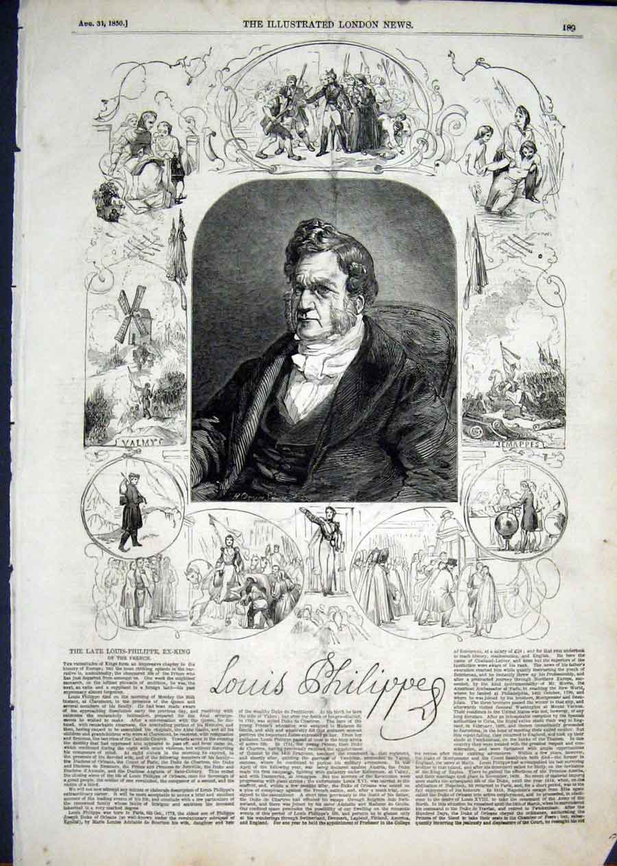Print Portrait Louis Phillipe King France 1850 89Aaa1 Old Original