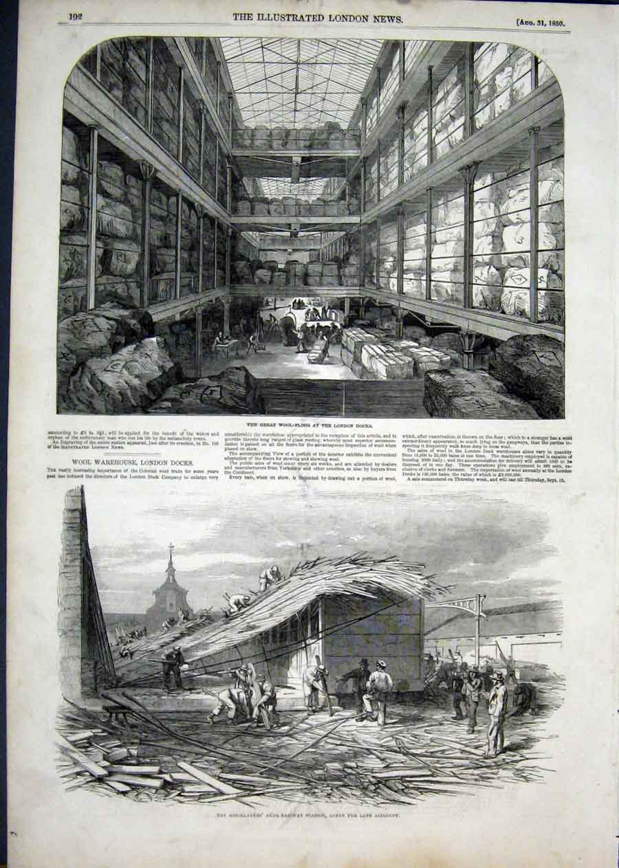 Print Wool Floor London Docks Bricklayer Railway 1850 92Aaa1 Old Original