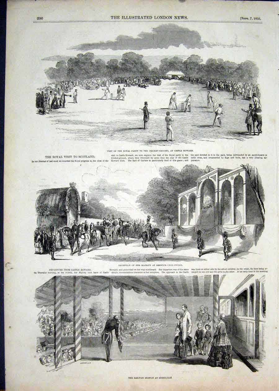 Print Castle Howard Scotland Railway Station Edinburgh 1850 00Aaa1 Old Original