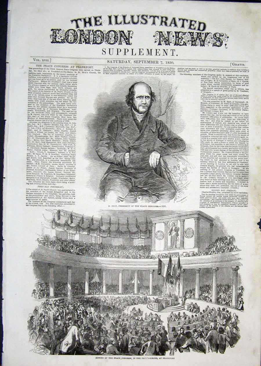 Print Portrait Jaup Peace Congress Frankfort 1850 14Aaa1 Old Original