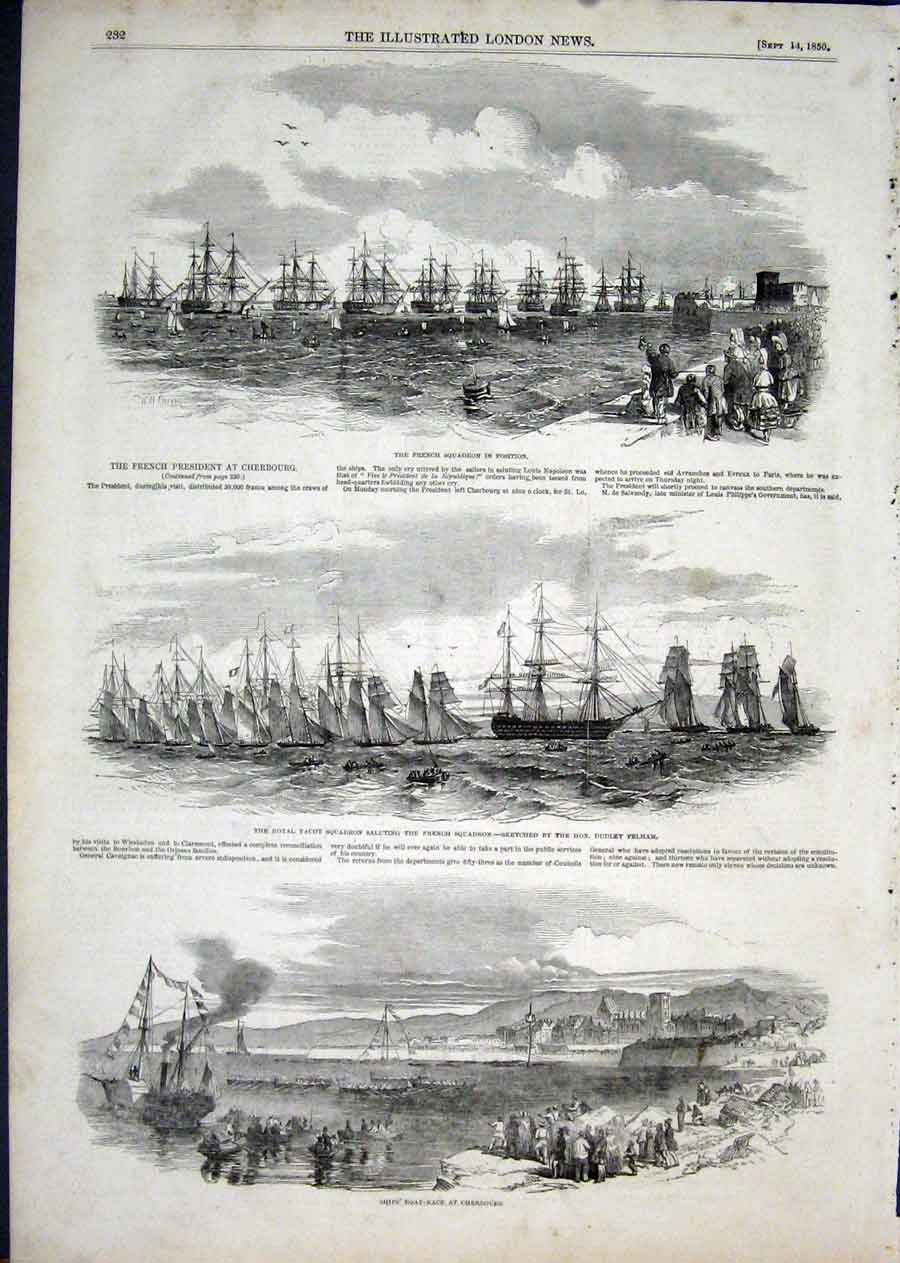 Print Cherbourg French President Squadron Pelham 1850 32Aaa1 Old Original