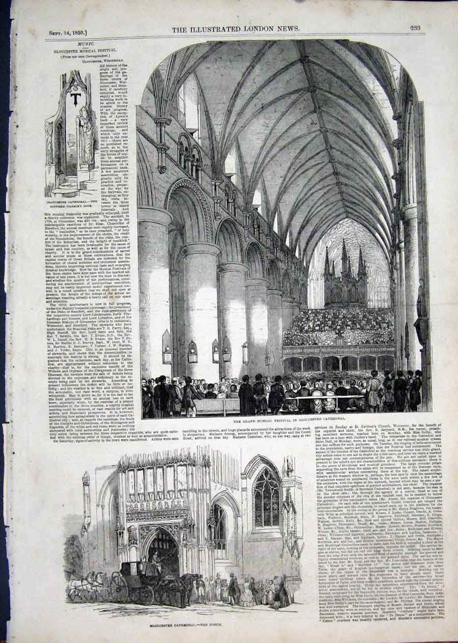 Print Gloucester Cathedral Festival 1850 33Aaa1 Old Original