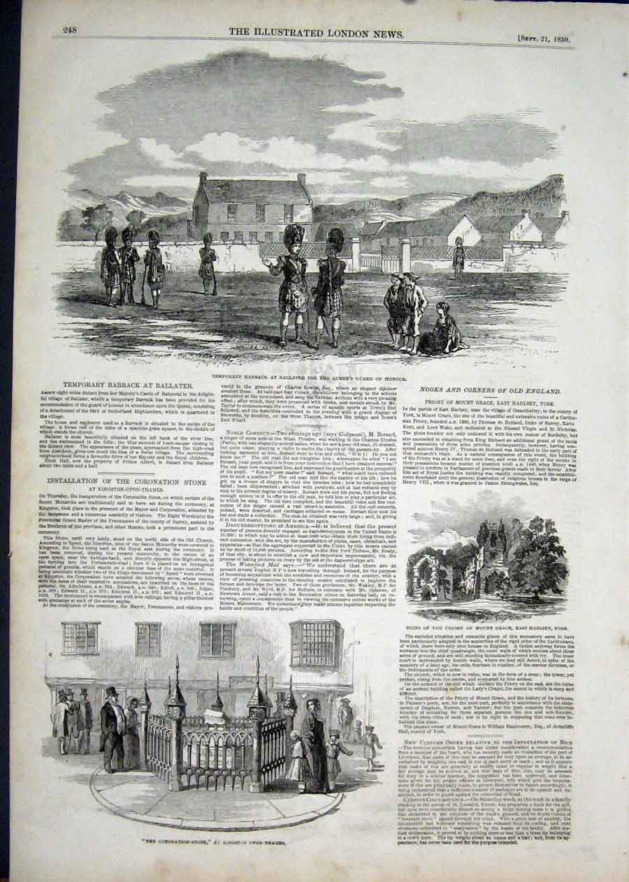 Print Ballater Balmoral Coronation Stone Priory 1850 48Aaa1 Old Original