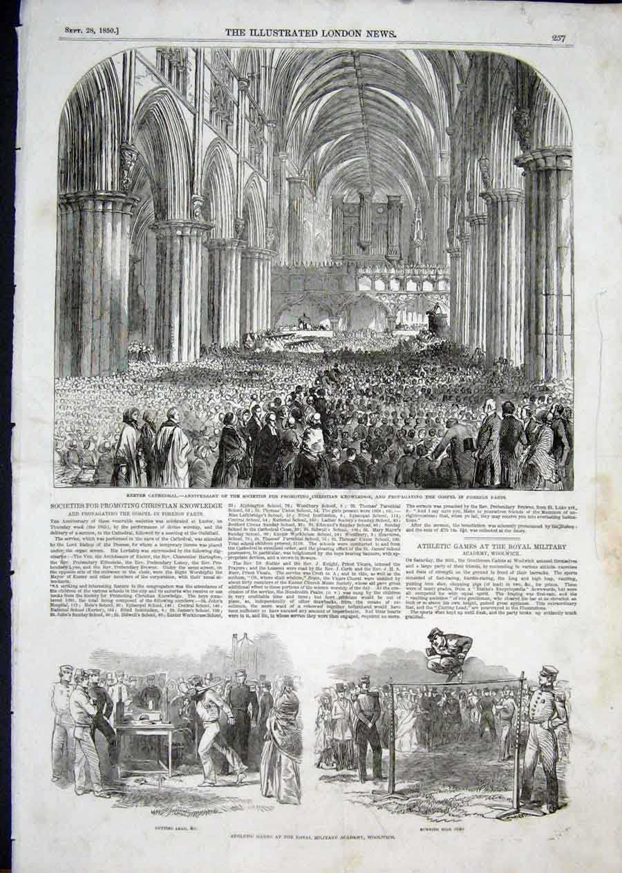 Print Exeter Cathedral Athletic Games Woolwich London 1850 57Aaa1 Old Original