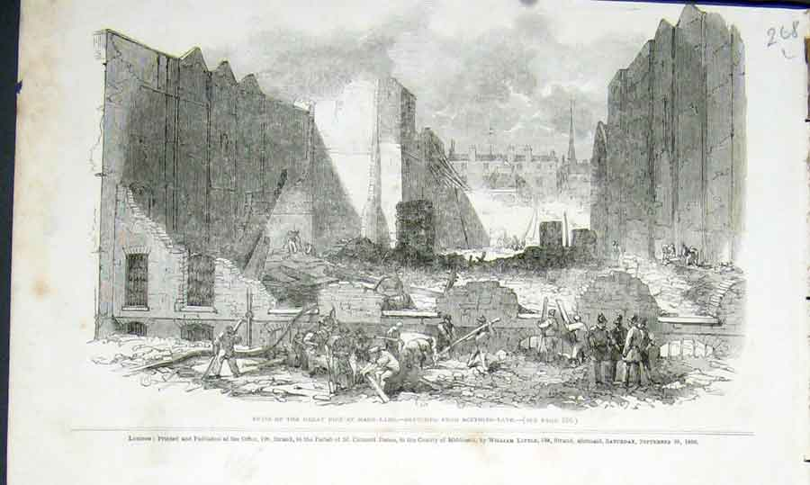 Print Mark Lane Fire Ruins Skething London 1850 68Laaa1 Old Original
