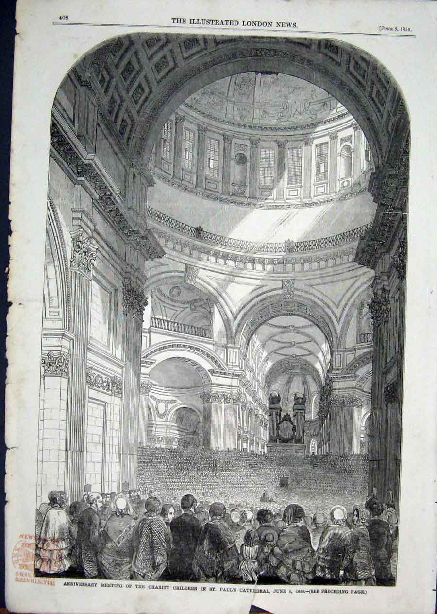 Print St Pauls Cathedral Charity Children 1850 08Aaa1 Old Original