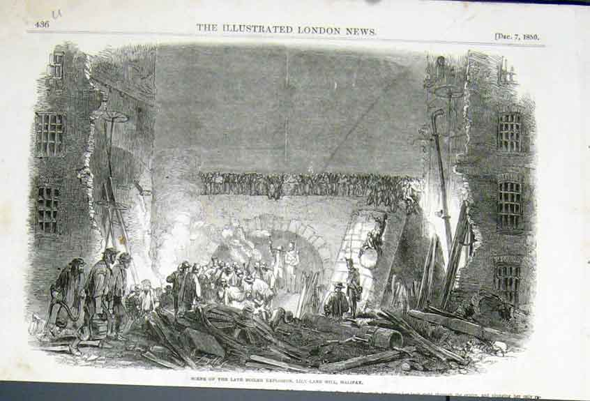 Print Lily Lane Mill Halifax Explosion 1850 36Uaaa1 Old Original