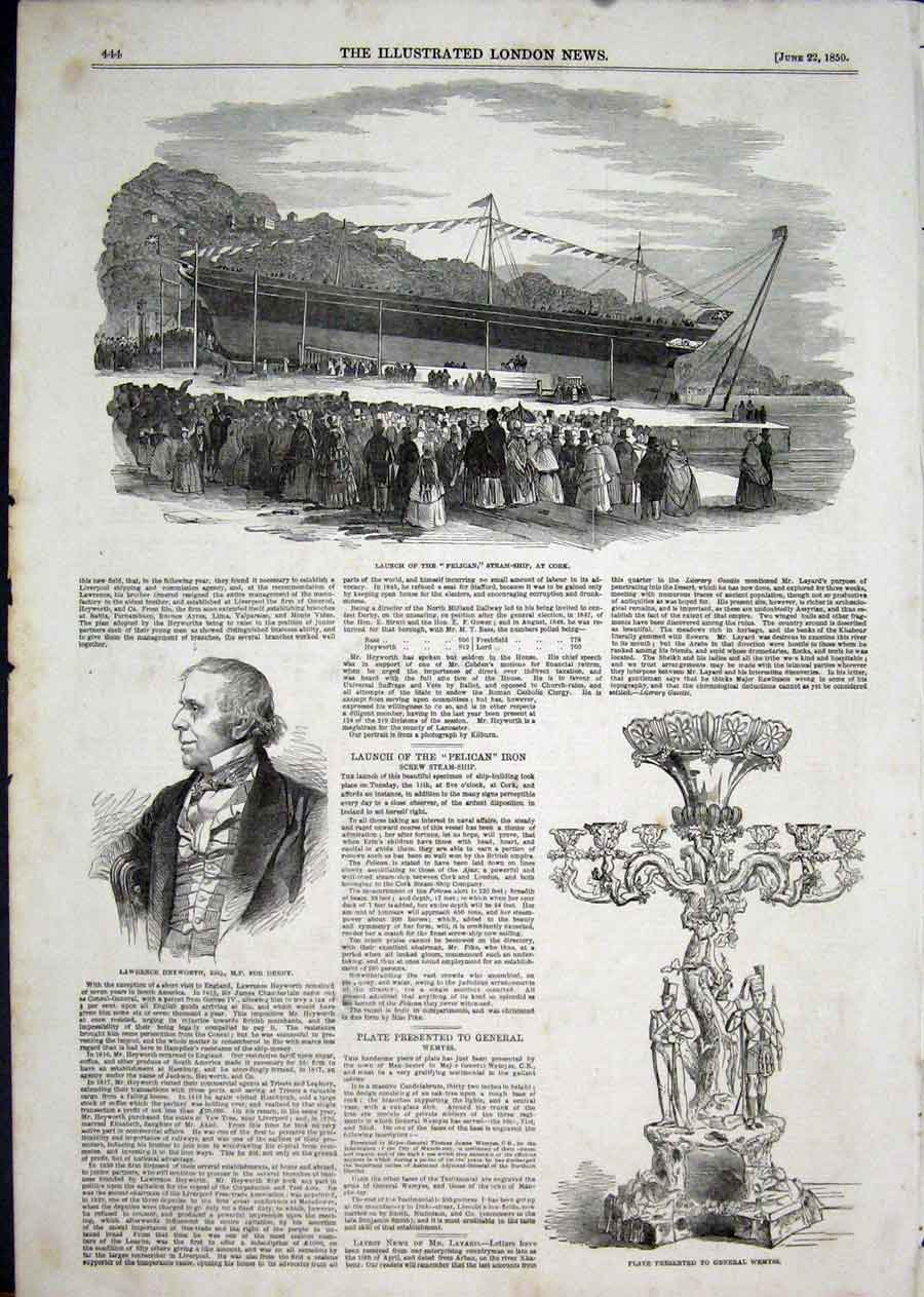 Print Pelican Steam Ship Cork Wemyss Heyworth Portrait 1850 44Aaa1 Old Original