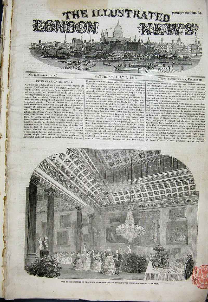 Print Supper Room Grosvenor House Ball 1856 02Aaa1 Old Original
