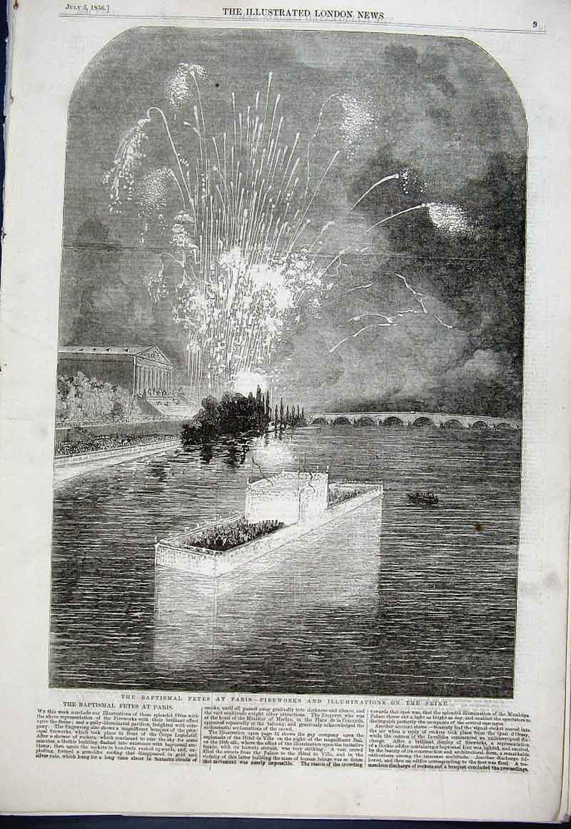 Print Fetes At Paris Illuminations Seine 1856 09Aaa1 Old Original
