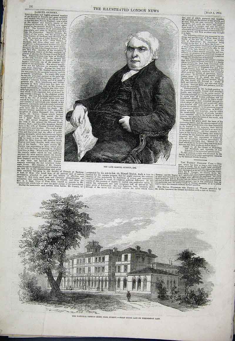 Print Samuel Gurney National Orphan Home Ham Surrey 1856 16Aaa1 Old Original