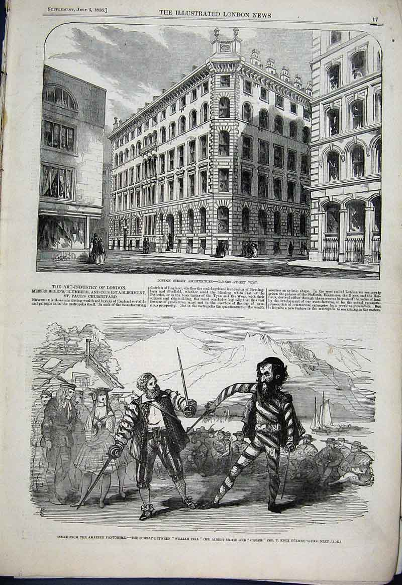 Print Cannon Street West London 1856 & William Tell V Gesler 17Aaa1 Old Original