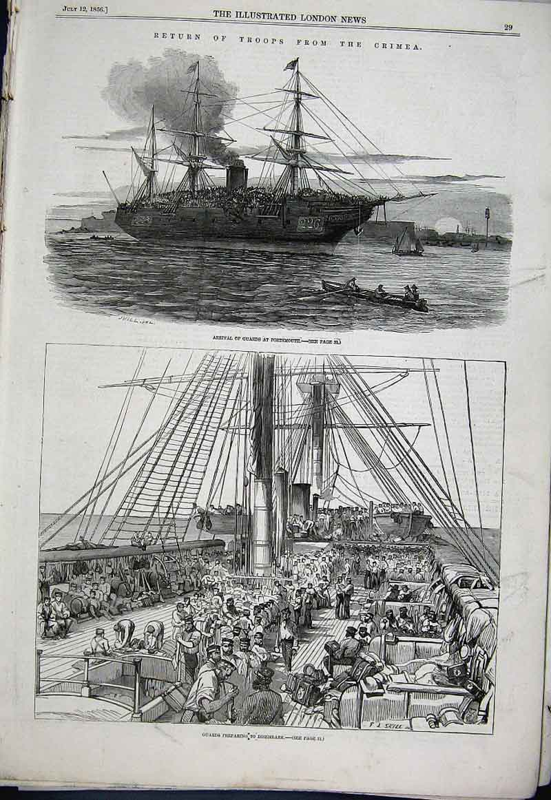 Print Guards Return From Crimea At Portsmouth 1856 29Aaa1 Old Original