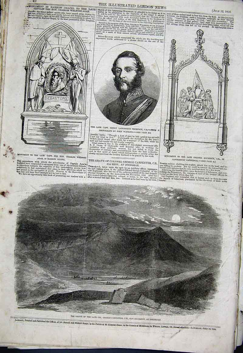 Print Grave Col George Carpenter At Inkerman 1856 40Aaa1 Old Original