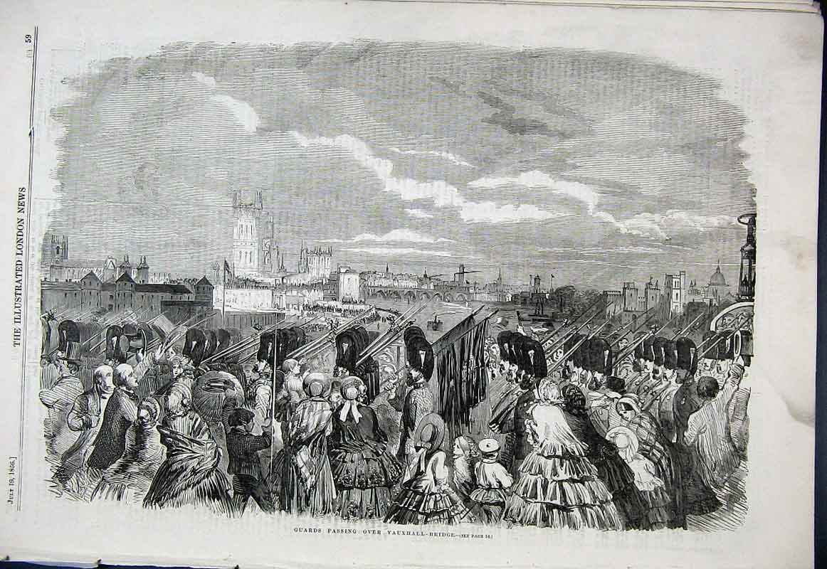 Print Guards Passing Over Vauxhall Bridge 1856 59Aaa1 Old Original