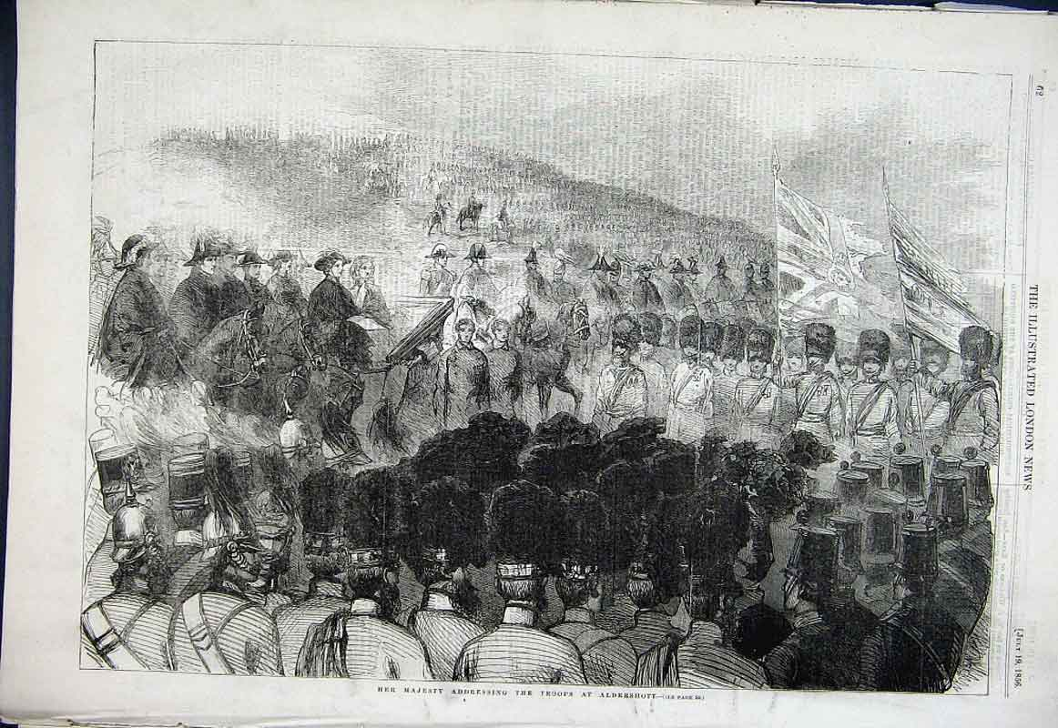 Print Queen Victoria Addressing The Guards Aldershott 1856 62Aaa1 Old Original
