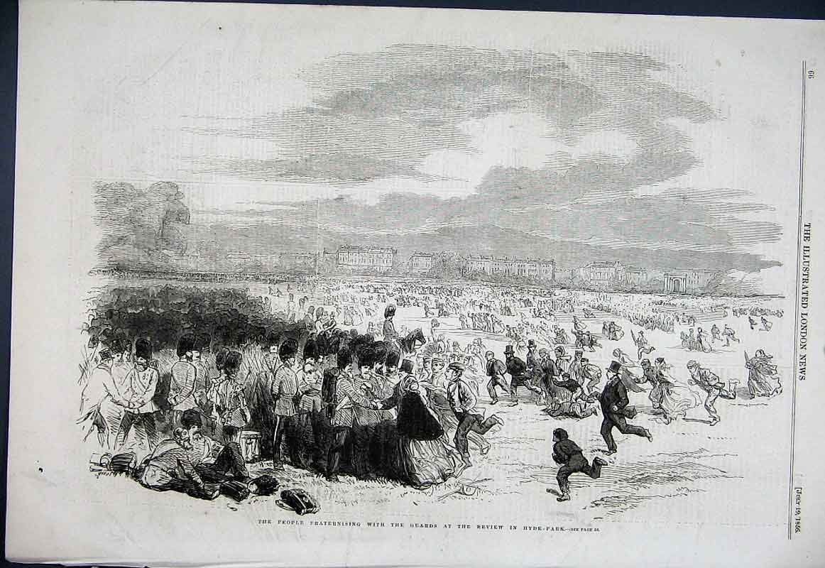 Print People Fraternising With The Guards Hyde Park Review 18 66Aaa1 Old Original