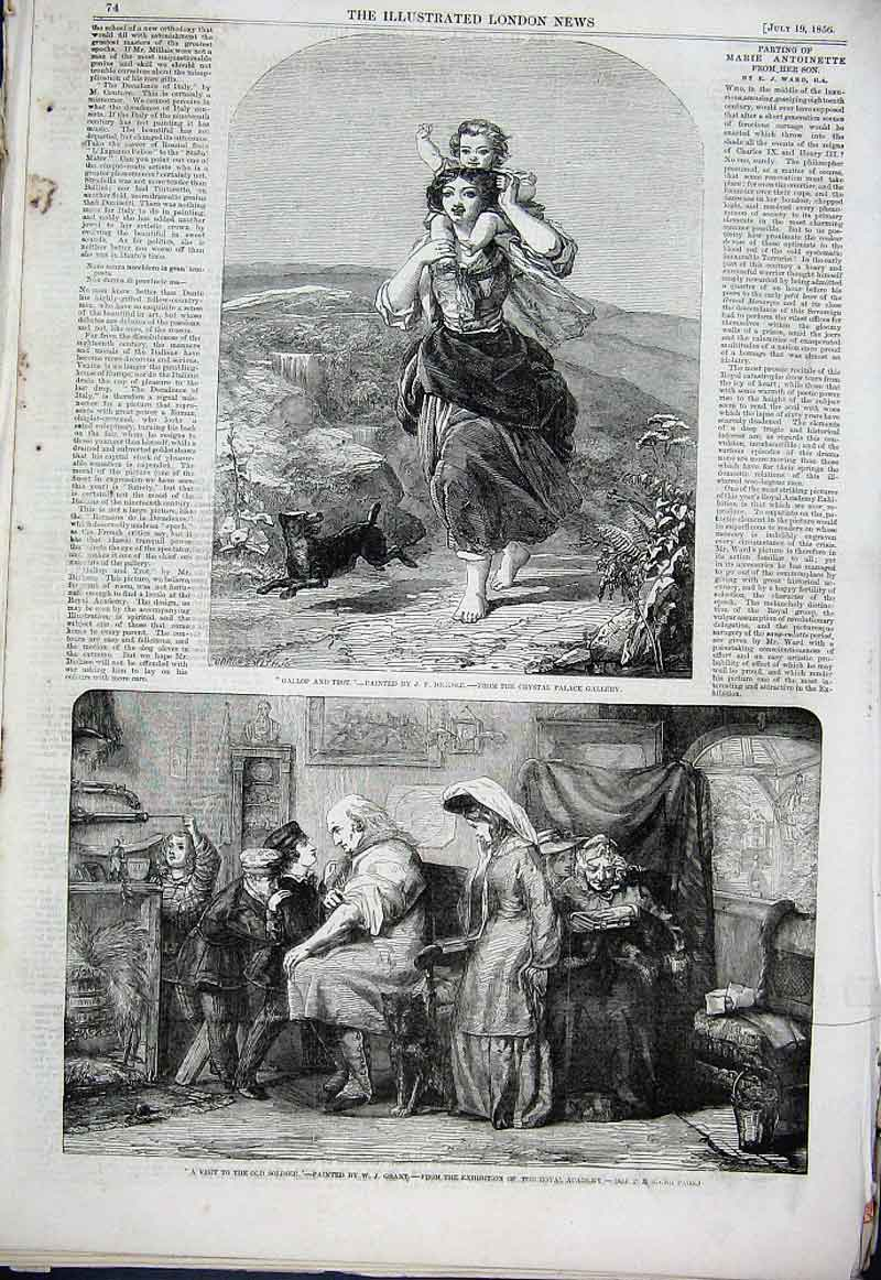 Print Gallop & Trot Visit To Soldier 1856 Fine Art 74Aaa1 Old Original