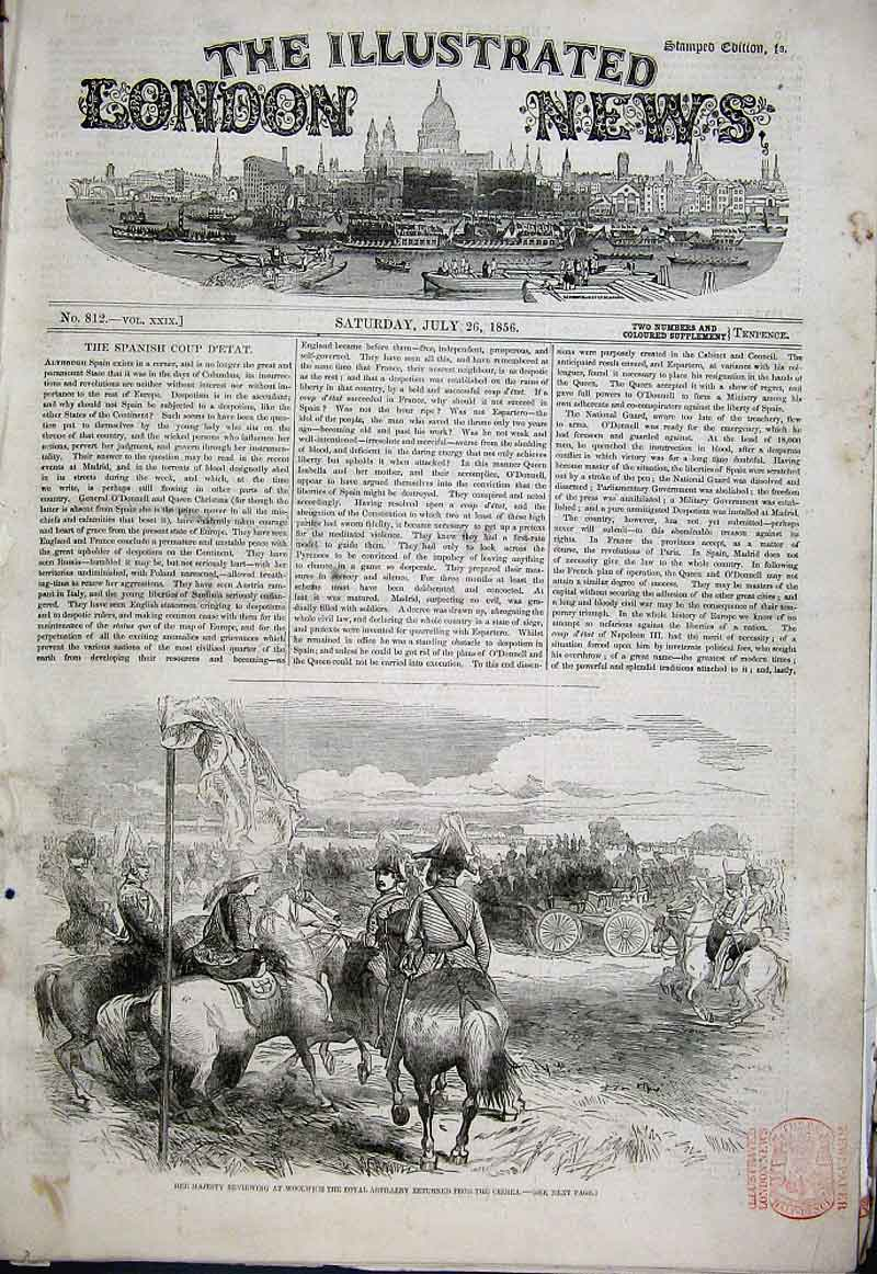 Print Royal Artillery Review At Woolwich 1856 80Aaa1 Old Original
