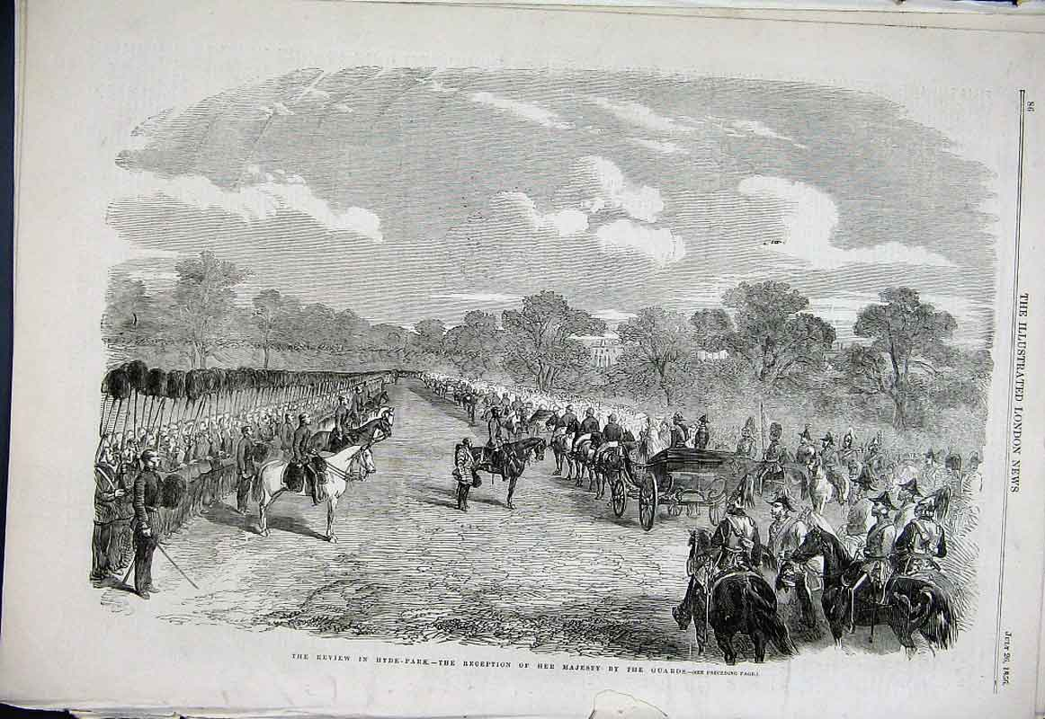 Print Guards Review Hyde Park London 1856 86Aaa1 Old Original