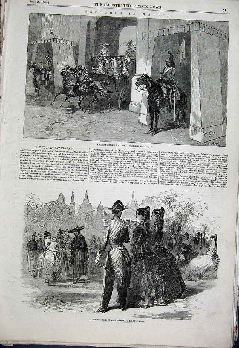 Print Sketches In Madrid Spain 1856 87Aaa1 Old Original