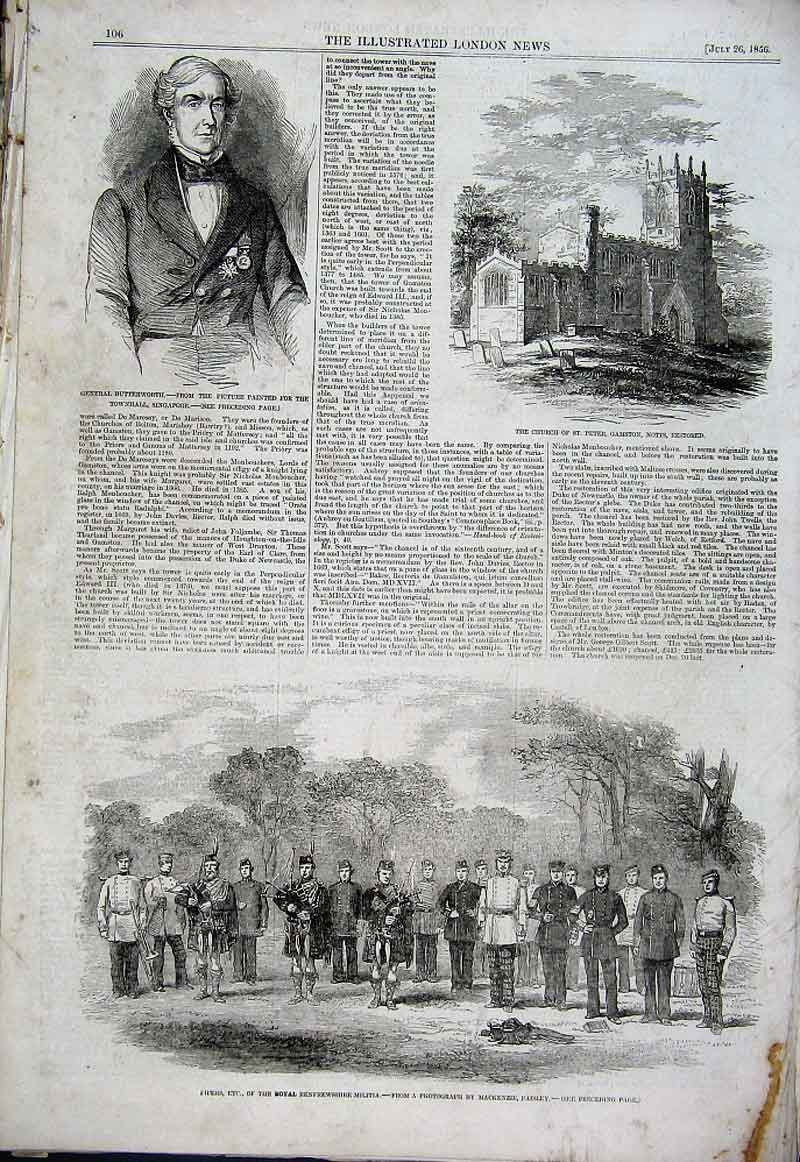 Print Pipers Royal Renfrewshire Militia 1856 06Aaa1 Old Original
