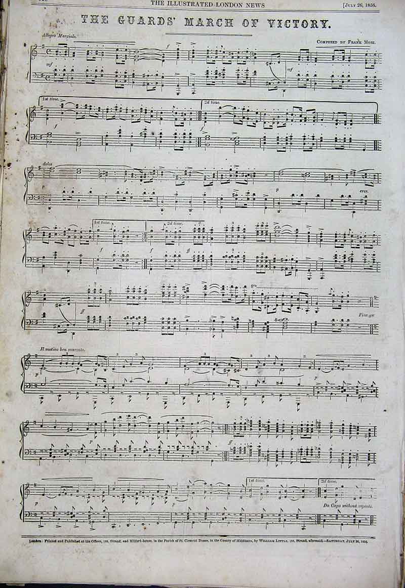 Print The Guards March Victory Music 1856 10Aaa1 Old Original
