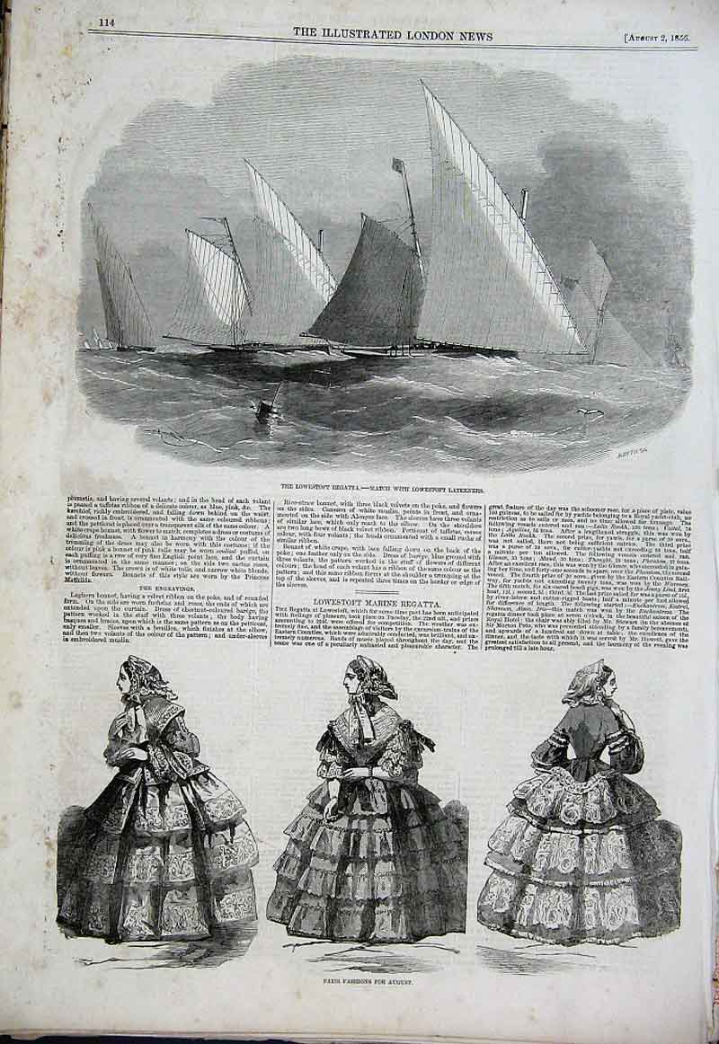 Print Lowestoft Regatta 1856 Paris Fashions 14Aaa1 Old Original