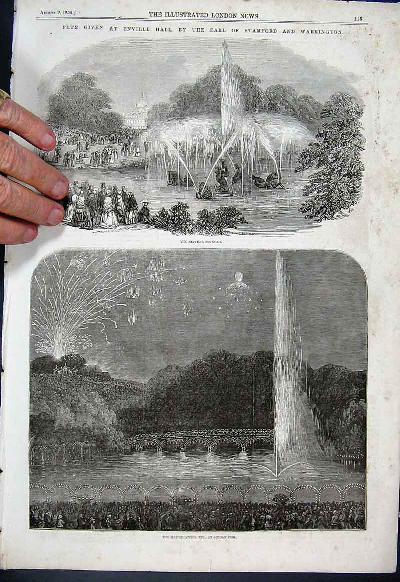 Print Fete At Enville Hall 1856 15Aaa1 Old Original