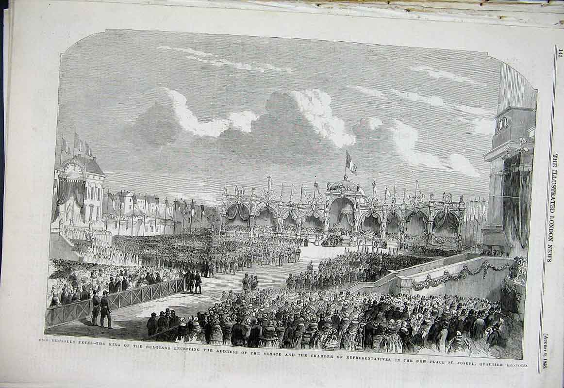 Print Brussels Fetes New Place St Joseph 1856 42Aaa1 Old Original