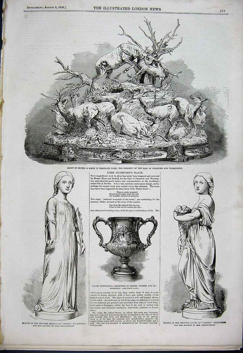 Print Lord Stamfords Plate 1856 Thornycroft Sculpt 51Aaa1 Old Original