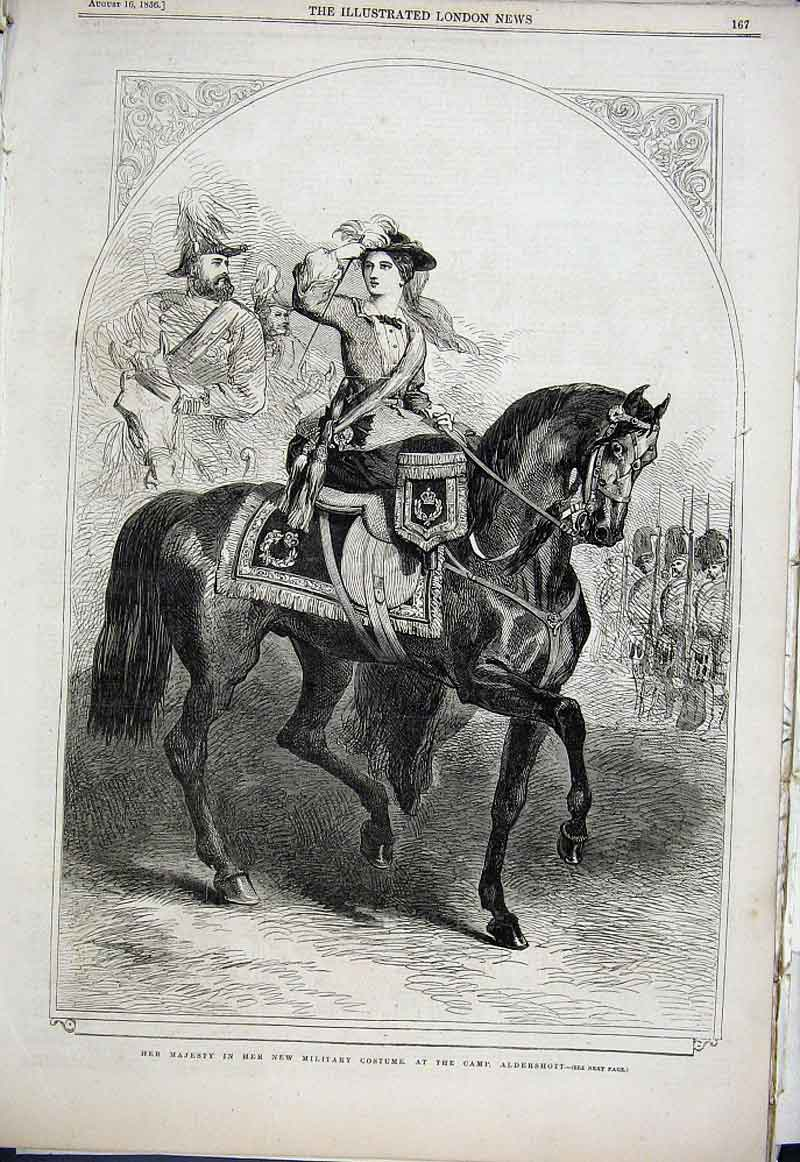 Print Queen Victoria In Military Costume On Horse At Aldersho 67Aaa1 Old Original