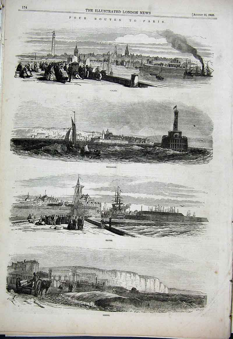 Print 4 Routes To Paris Calais Boulogne Havre Dieppe1856 74Aaa1 Old Original
