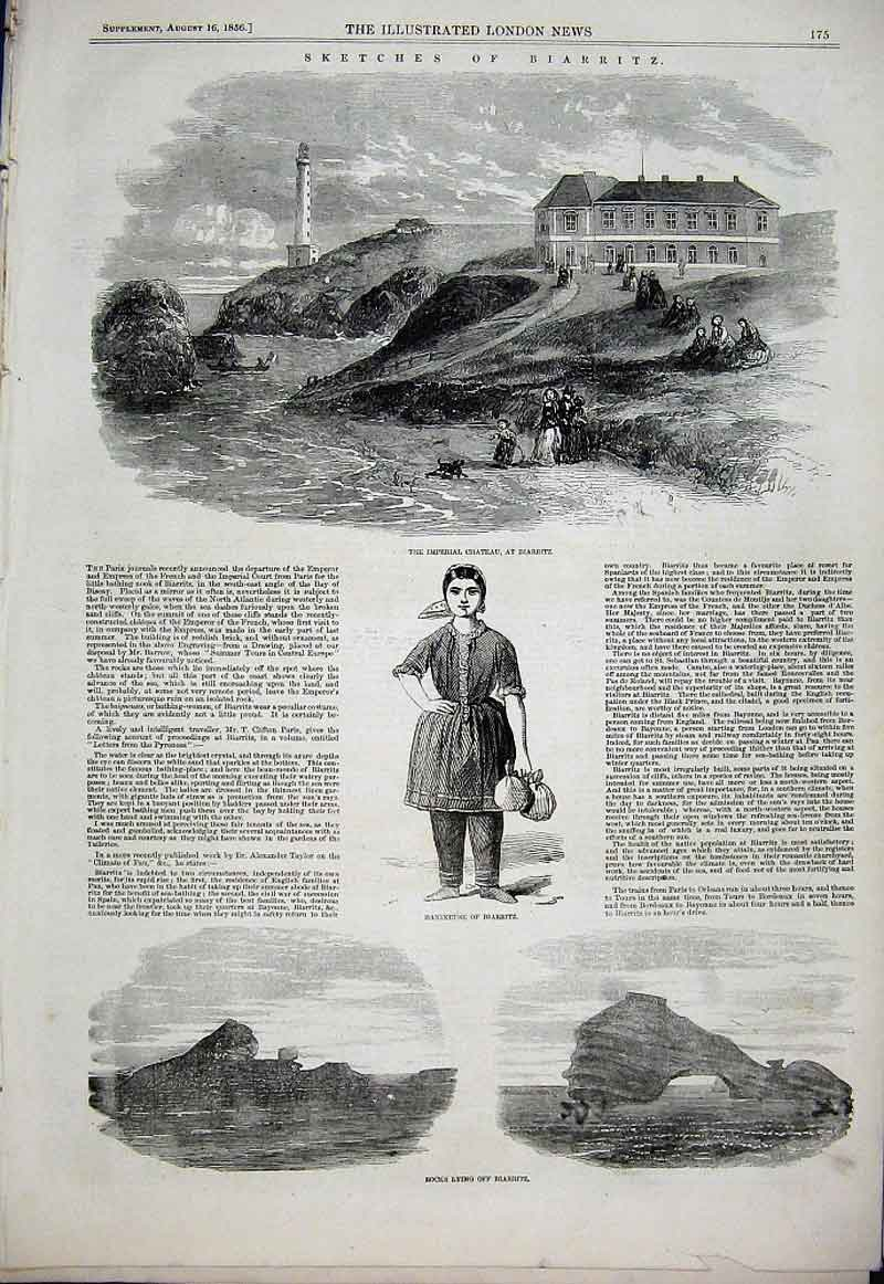 Print Imperial Chateau Biarritz 1856 3 Views 75Aaa1 Old Original
