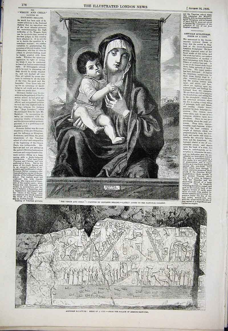 Print Virgin & Child By Bellini 1856 National Galle 78Aaa1 Old Original