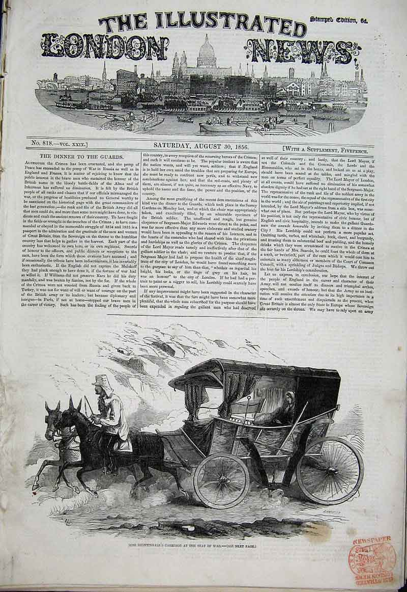 Print Miss Nightingale'S Cariage At Seat War 1856 08Aaa1 Old Original