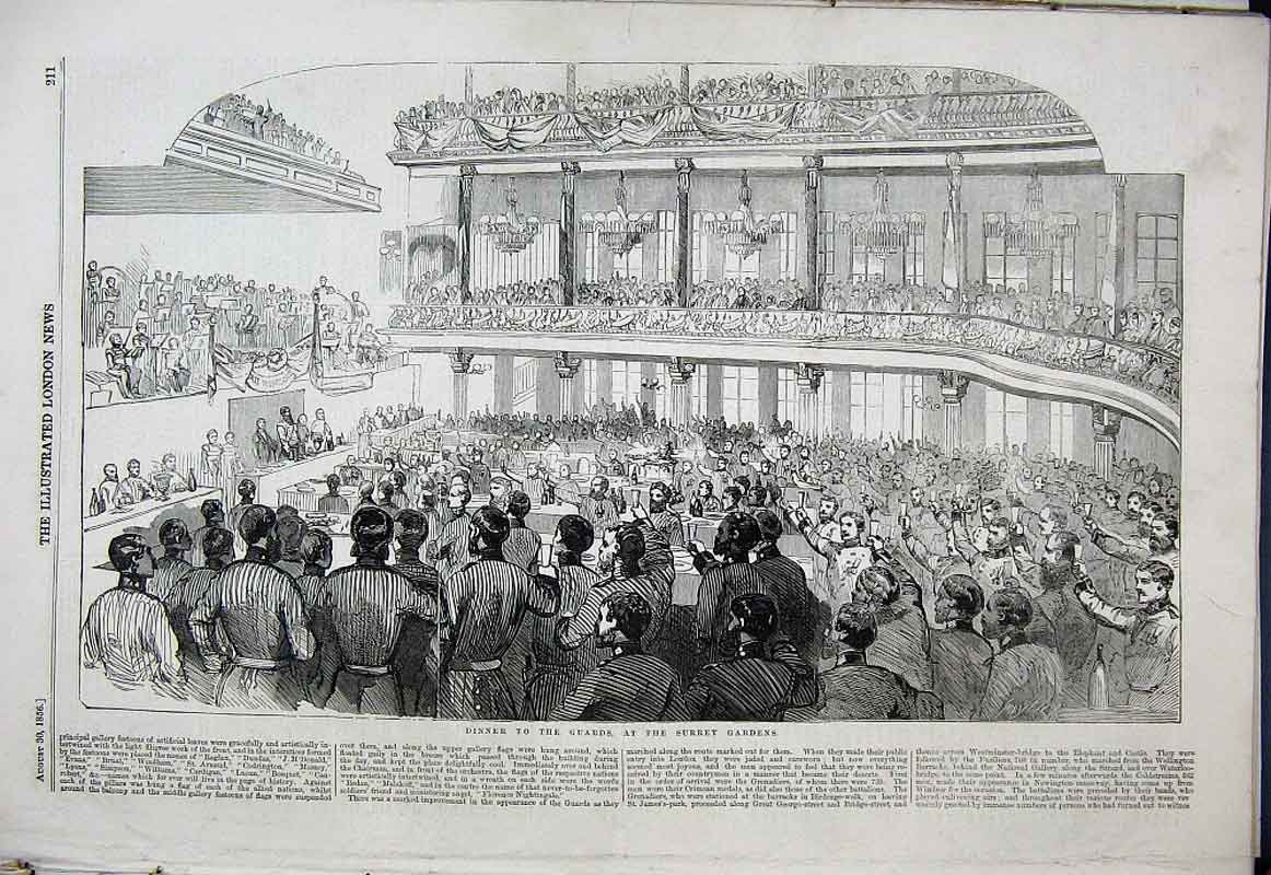 Print Dinner To The Guards At Surrey Gardens 1856 11Aaa1 Old Original