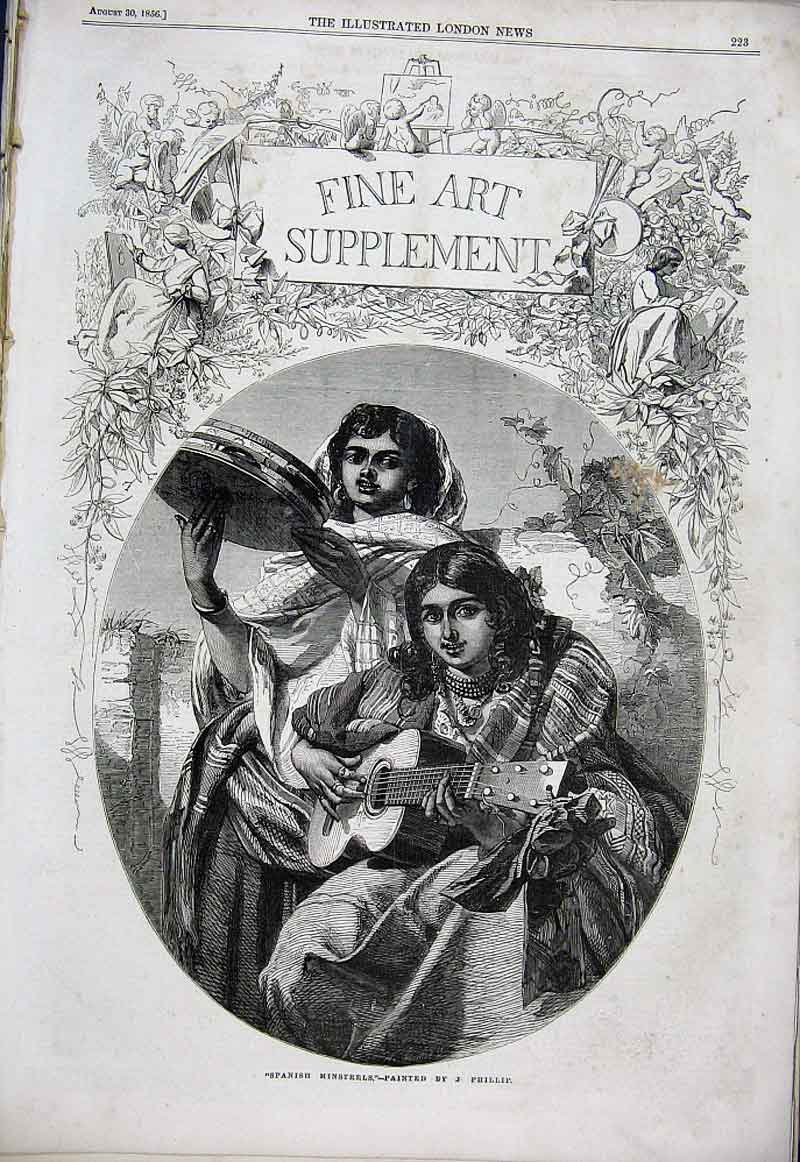 Print Spanish Ministrels By Phillips Fine Art 1856 23Aaa1 Old Original